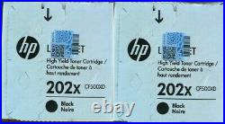 2 Factory Sealed Genuine HP 202X Black Toners CF500XD in the White Boxes