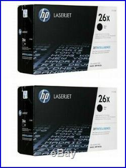 2 Genuine Factory Sealed HP 26X Black High Yield Toner Cartridges CF226X