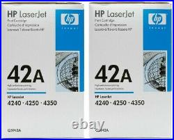 2 NEW Genuine Factory Sealed HP 42A Toner Cartridge Blue & Wht Packaging Q5942A