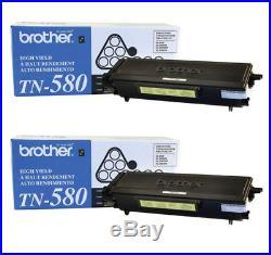 2 New Genuine Factory Sealed Brother TN-580 Laser Toner Cartridges