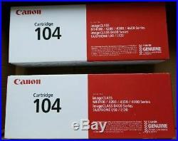 2 New Genuine Factory Sealed Canon 104 Black Toner Cartridges