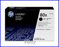2 New Genuine Factory Sealed HP 80X Laser Toner Cartridges CF280X DUAL PACK