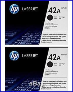 2 New Genuine HP 42A Laser Cartridges Toner Printer-Tested 100% Toner NO BOX