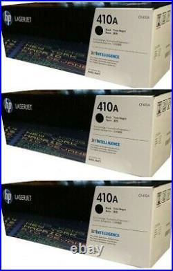 3 New Genuine Factory Sealed HP 410A Black Laser Toner Cartridges CF410A