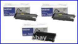 3 Total New Genuine Sealed Brother TN-360 Toner Cartridges DR-360 Imaging Drum