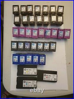 38 Total Empty Hp22, 27, 61, 61xl Cartridges Black & Tricolor & 952 Single Color