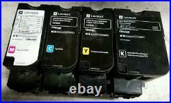 4 Sets Virgin Genuine Empty Lexmark C4150 XC4150 CS720 Toners FREE SHIP