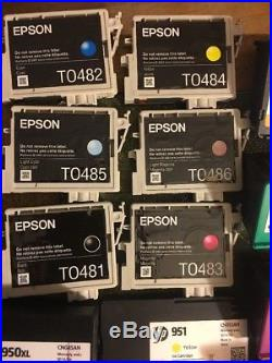 48 ink cartridges hp lemark epson canon new half full virgin empty Make Offer