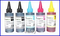 5 100ml Universal Premium Ink bottles kit to Refill empty printer ink cartridge