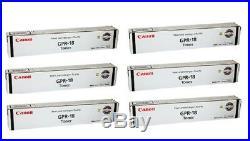 6 Genuine Factory Sealed Canon GPR-18 Black Toner Cartridges GPR18