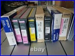 8 PARTIAL 220ml Epson 4000 7600 9600 ink cartridges & 8 Empty Printer