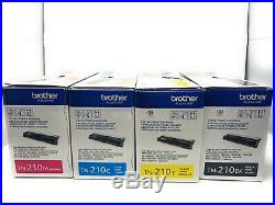 Brother TN210BK TN210C TN210Y TN210M Toner Lot of 4 New Black & Color Set