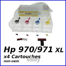 CISS HP970 HP971 x4 cartouches + Puces ARC Encre Continue non-oem VIDE