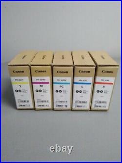 Canon Pfi-301 set of 5 Ink tank M, R, C, PC, Y ImagePROGRAF 8100 9100 Sealed