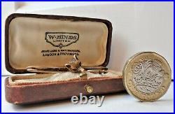 EDWARDIAN 9 CARAT GOLD FOX HEAD BROOCH / HUNTING STOCK PIN. 2 RUBY EYES 9ct 1910