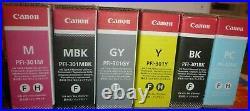Genuine Canon Pfi-301 set of 6 Ink tank Y, M, C, MBK, GY, BK ImagePROGRAF 8100 9100