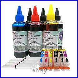 HEMAINK Empty Refillable Ink Cartridge and 6 Bottles Ink Compatible for Canon