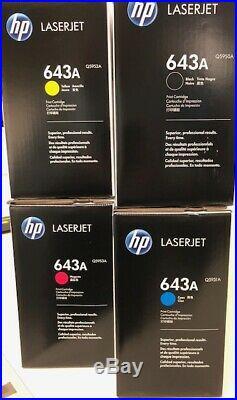 HP 643A Q5950A Q5951A Q5952A Q5953A BCMY Toner Cartridge Set of 4 GENUINE SEALED