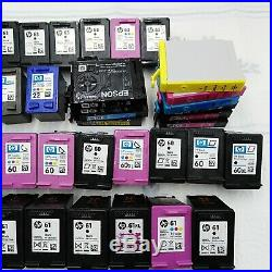 Lot Of 45 Empty Hp and Epson Ink Cartridges Color and Black