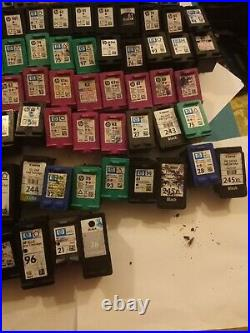 Lot of(96) mostly Virgin Empty Genuine HP Ink and canon Cartridges