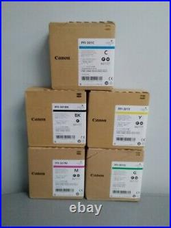New Genuine Canon Pfi-301 set of 5 Ink tank M, G, C, BK, Y ImagePROGRAF 8100 9100