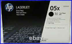 New Genuine Open Box Sealed Bag HP CE505XD Laser Toner Cartridges 05X (2 Toners)