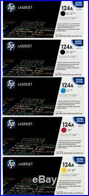 SET 5 Genuine Fact Sealed HP 124A Toner Cartridges Q6000A Q6001A Q6002A Q6003A