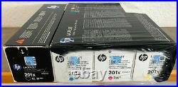 Set 4 Fact Sealed New Genuine HP 201X Black Cyan Magenta Yellow Toner Cartridges
