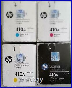 Set 4 Factory Sealed Genuine HP 410A Toner Cartridges CF410A CF411A CF412A CF413