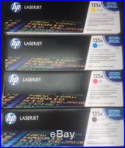 Set 4 Genuine Fact Sealed HP CB540A CB541A CB542A CB543A Toner Cartridges 125A