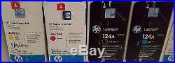 Set 4 Genuine Factory Sealed HP Q6000A Q6003A Toner Cartridges 124A All Clrs