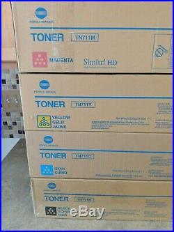 Set 4 Genuine Factory Sealed Konica Minolta TN711K TN711C TN711M TN711Y BB-2