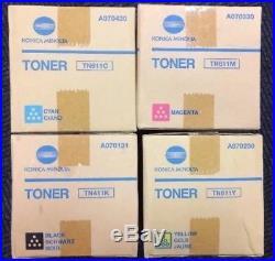 Set 4 Genuine OEM Sealed Konica Minolta TN411K TN611M TN611Y TN611C Toners C451