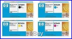 Set 4 Genuine Sealed HP Q7560A Q7561A Q7562A Q7563A Laser Cartridges BOX DAMAGE