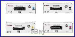 Set 4 New Genuine Sealed Canon 118 Toner Cartridges Black Cyn Mag Yellow DAMAGE