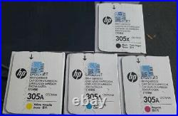 Set 4 Sealed Genuine HP 305X 305A Toner Cartridges CE410X CE411A CE412A CE413A