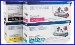 Set 4 of Genuine Factory Sealed Brother TN-221 TN-225 Toner Cartridges KCMY