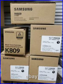 Set 5 Genuine Factory Sealed K809 M809 Y809 C809 Samsung Toners Waste Container