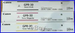 Set Of 3 Genuine Factory Sealed Canon Gpr-30 K M Y Toner Cartridges Gpr30
