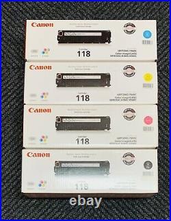 Set Of 4 Genuine Factory Sealed Canon 118 K C M Y Toner Cartridges 118