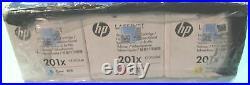 Set of 3 Fact Sealed New Genuine HP 201X Cyan Magenta Yellow Toner Cartridges