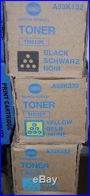 Set of 3 Genuine Konica Minolta TN512K TN512Y TN512C Toners NEW