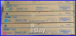 Set of 3 Genuine Sealed Konica Minolta TN321M TN321Y TN321C Toner Cartridges