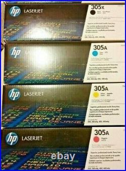 Set of 4 Fact Sealed Genuine HP CE410X CE411A CE412A CE413A Cartridges 305A 305X