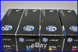 Set of 4 GENUINE Brand New SEALED HP 643A BCMY Toner Cartridge