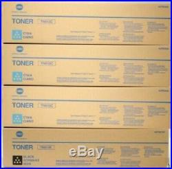 Set of 4 Genuine Sealed Konica Minolta TN613C Cyan and TN613K Black Toners