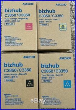 Set of 4 Genuine Sealed Konica Minolta TNP48K TNP48M TNP48Y TNP48C Toners BIZHUB