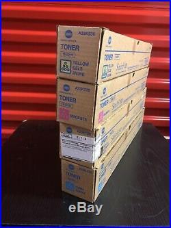 Set of 4 New Genuine Sealed Konica Minolta TN321K TN321M TN321Y TN321C Toners