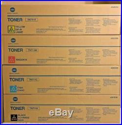 Set of 4 New Genuine Sealed Konica Minolta TN711K TN711M TN711Y TN711C Toners