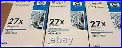 THREE (3) New Genuine Factory Sealed HP 27X Laser Cartridges Blue and Wht Boxes